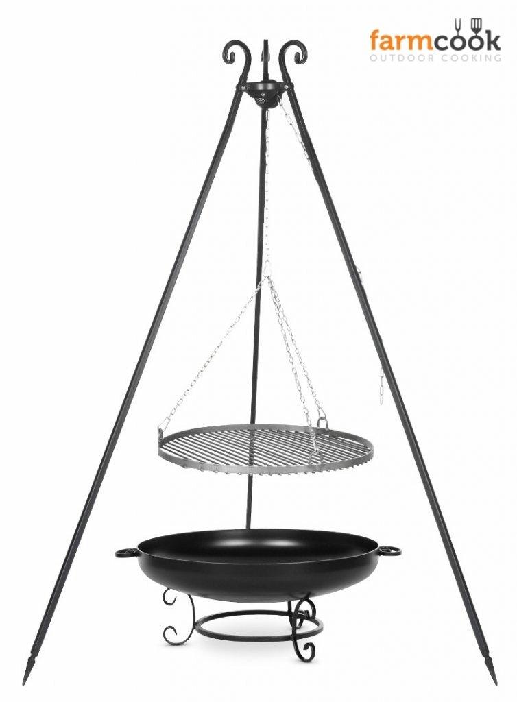 Dreibein Grill VIKING Höhe 180cm + Grillrost aus Rohstahl Durchmesser 60cm + Feuerschale Pan42 Durchmesser 70cm günstig online kaufen