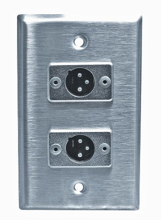 Stainless Steel Xlr Male Wall Plate Single Gang With 2 Xlr Jacks With Headphones