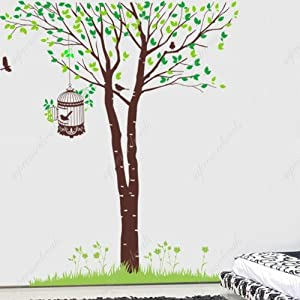 Custom popdecals elegant birch tree with birds family for Beautiful birch tree wall mural
