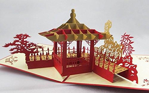 Quirky regalo biglietti stampa Business Logo Personalizzato a mano cinese Pavilion 3d pop up biglietti di auguri