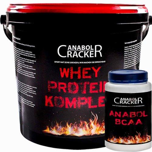 Whey Protein Creatin Komplex, 900g Banane oder Mandel-Biskuit Eiweißshake+ Anabol BCAA, 454g Dose, Aminosäuren Pulver