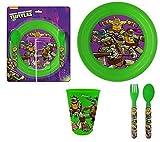 Turtles�-�Vajilla infantil con platos, vasos y horquilla Cuchara Lunch Set TMNT Teenage Mutant Ninja Turtles