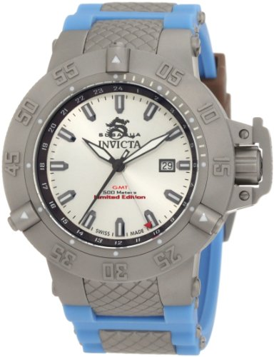 Invicta Men's 1590 Subaqua Noma III Silver Dial Blue Silicone Watch