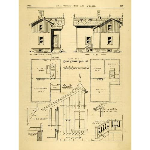 Floor Plans Victorian House Original Halftone Print