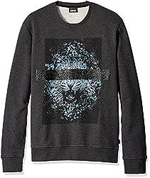 Just Cavalli Men's Blinded Leopard Sweatshirt, Gargoyle Melange, Large