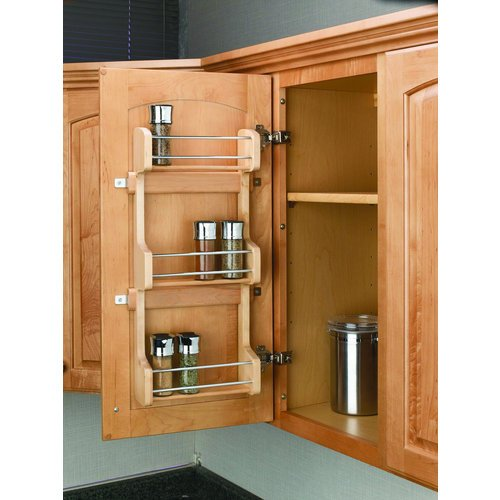 Rev-a-Shelf Rev-a-Shelf Door Mount Spice Rack, Brown, Wood, 9.625 in.