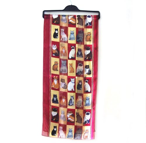 Cats in a Box Ladies Scarf Burgundy