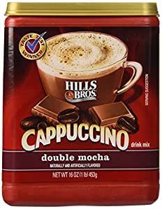 Hills Bros. Coffee Instant Cappuccino Double Mocha, 16-Ounce Jars (Pack of 6)