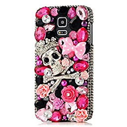 Samsung Galaxy Note 4 Case, Sense-TE Luxurious Crystal 3D Handmade Sparkle Glitter Diamond Rhinestone Ultra-Thin Clear Cover with Retro Bowknot Anti Dust Plug - Crown Skull Bowknot / Pink