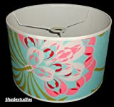 "Hand Made 16"" Duck Egg Blue Wallpaper Lampshade With Pink Flower & Green Stem Design"
