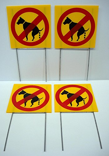"""4 Pcs Impressive Modern No Dog Poop Warning Signs Outdoor Decal Yard Sign Size 8"""" x 8"""" with Stakes"""