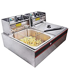 Yescom Commercial 12L 5000W Stainless Steel Electric Countertop Deep Fryer Dual Tank Basket