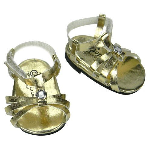 Gold Doll Shoes, Fits 18 Inch American Dolls, Dress Jeweled Strap Doll Sandals