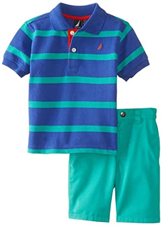 Nautica Baby-Boys Infant Stripe Polo and Solid Short 2 Piece Set, Royal, 24 Months