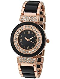 Sale Funda Stylish Rose Gold And Black Analog Black Dial Women's Wrist Watch CWW007