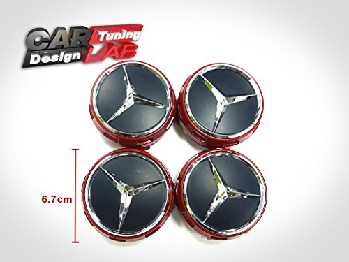 4 ember red black center wheel center hubs covers 4pcs for Mercedes benz wheel covers