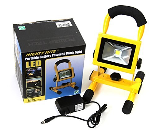 """Power Tech """"Mighty Mite"""" 10W Cordless Rechargeable Led Work Light - 800 Lumens Output - So Many Uses: Jobsites, Camping, Emergency Light For Home, Car Or Truck!"""