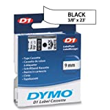 "DYMO Labeling Tape, D1, Split Back, Adhesive, Easy Peel, 3/8""x23, Black on White"