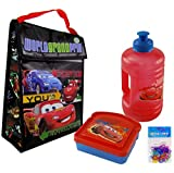 Disney Pixar Cars Lunch Bag (Insulated), Pixar Cars Water Bottle, Pixar Cars Sandwich Box, and 12-pack Silicone Bacelets - All Are Non-BPA and Non-toxic - 4 Item Bundle