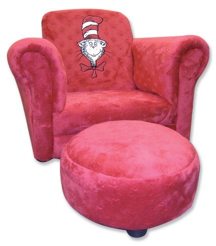 Trend Lab Dr. Seuss Cat in the Hat Star Embossed Velour Club Chair and Ottoman Set, Red