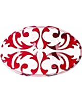 Hand Made Sheered Steel Red and White Distressed Victorian Belt Buckle