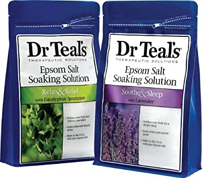 Dr. Teal's Epsom Salt Soaking Solution Bundle - Relax & Relief Eucalyptus Spearmint 3lbs and Sooth & Sleep Lavender 3lbs from Dr. Teal's