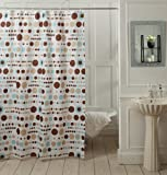 "@home Geometric Shower Curtain - 70""x78"", Blue/White and Brown"