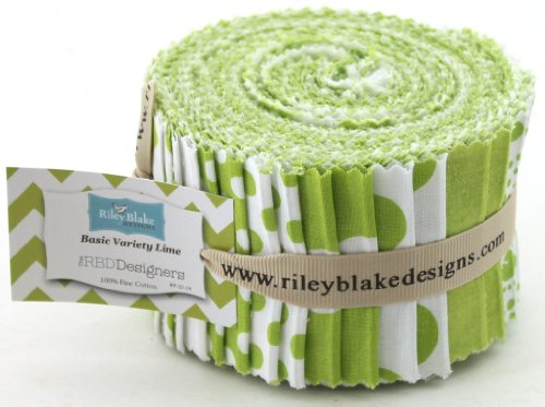 Riley Blake BASICS VARIETY LIME Rolie Polie 24 2.5 inch Jelly Roll Strips Quilt Fabric RP-32-24