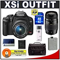 Canon Digital Rebel XSi 12.2MP Digital SLR Camera (Black) + Canon 18-55mm IS Lens + Tamron 70-300mm Di LD Macro Lens for Canon EOS + Spare LP-E5 Battery + 8GB Card + Gadget Bag