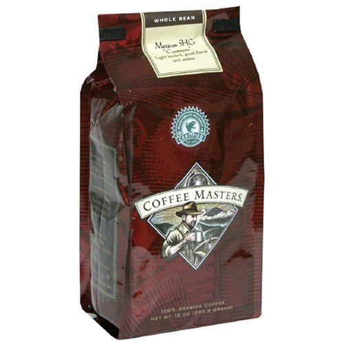 Coffee Masters Gourmet Coffee, Mexican SHG, Whole Bean, 12-Ounce Bags (Pack of 4)