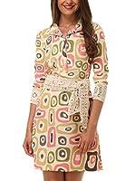 Almatrichi Vestido Gandy (Beige / Verde / Rosa)