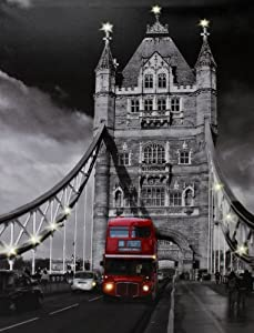 Large Canvas Print Picture with Lights London Bridge + Red Bus from Home Living