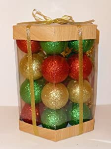 Christmas Ball Ornaments Set Boxed Glitter / Sequin 24 Count (Red / Green / Gold Glitter Mix)