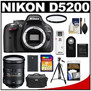 Nikon D5200 Digital SLR Camera Body (Black) with 18-200mm VR II Zoom Lens + 32GB Card + Case + Battery + Filter + Tripod + Accessory Kit