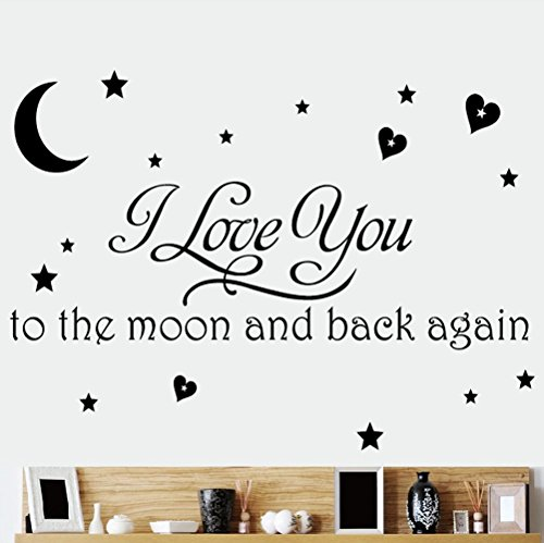 I Love You To The Moon And Back Again DIY Wall Stickers Quotes Wall Stickers Removable Art Vinyl Quote Wall Sticker Decal Mural Home Room Wall Decoration