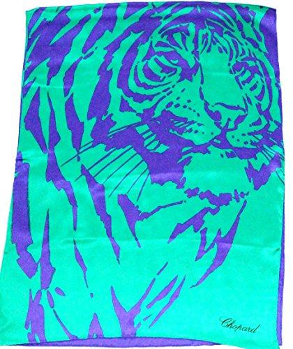 chopard-grun-blauer-seidenschal-70-x-182cm-mit-tiger-motiv-seidentuch-scarf
