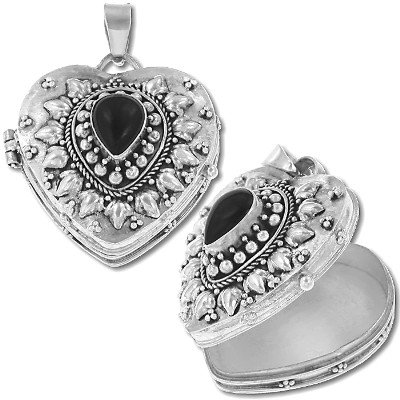 925 Sterling Silver Heart Shape Genuine Black Onyx Keepsake Prayer Box Pendant