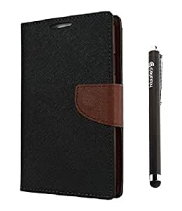 YGS Premium Dairy Wallet Case Cover ForSamsung Galaxy Note 2 n7100 -Black Brown and Griffin Stylus Pen