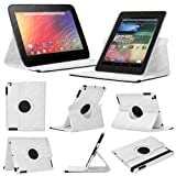 Stuff4 MR-NX7-L360-W-STY-SP Leather Smart Case with 360 Degree Rotating Swivel Action and Free Screen Protector/Stylus Touch Pen for 7 inch Google Nexus 7 - White