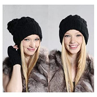 SODIAL(TM) Spring Retro Oversized Slouch Ladies Warm Stretch Beanie Bobble Hat, Black