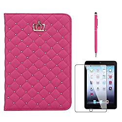 iPad 2 3 4 Case for Girls, Gift-Hero(TM) Luxury Golden Alloy Crystal Bling Bling Diamond Leather Smart Case Stand Cover for Apple iPad 2/3/4 Smart Cases (Hot Pink Crown Case)