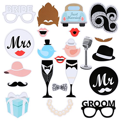 LeeSky 22 pieces Newest Photo Booth Props Mr and Mrs Bride and Groom DIY Kit for Wedding Party Reunions Carnival Party Christmas Birthdays Cosplay Dress-up Accessories & Party Favors (Wedding Accesories For Party compare prices)
