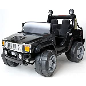 Kids Ride On Car Black HUMMER Style Electric Battery Toy 12V