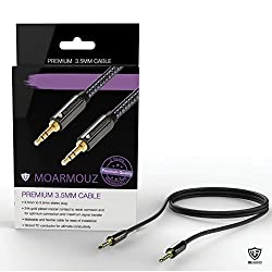 MoArmouz® Aux Cable Stereo Premium Auxiliary Audio Cable [2 YEARS WARRANTY] 3.5mm (4ft / 1.2m) Hi-Fi Sound Quality Male to Male / Auxiliary Cable / Aux Cord for Car Stereos, Headphones, iPod, iPhone, Beats, SkullCandy, MP3 Players and More (Black)
