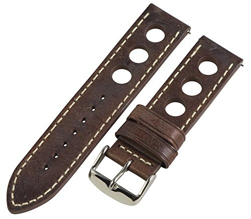 20Mm Rally Racing 3 Hole Vintage Brown Leather Traditional Watch Band Strap Fits Panerai