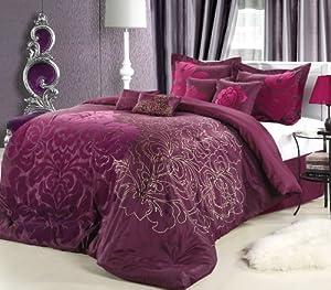 Chic Home 8-Piece Lakhani Comforter Set, Queen, Plum