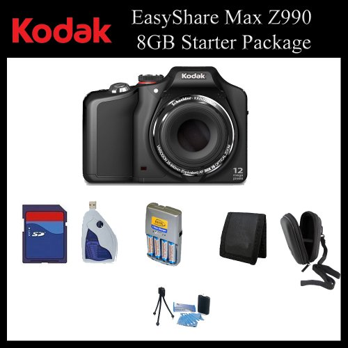 Kodak EasyShare Max Z990 12MP Digital Camera (Black) - 1773662 - 8GB Digital Camera Package