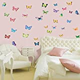 Vibrant Butterflies in Flight - Reusable Instant Decor Self-Adhesive Matte Vinyl Sticker Decal (DESIGN 1, 1)