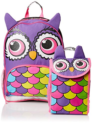 Mystic Apparel Owl Critter Backpack with Lunch Kit, Multi, One Size