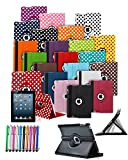 Amazon Kindle Fire HDX 7 inch 2013 Model Tablet 360° Rotating Swivel Executive PU Leather Folio Case Stand Cover with Stylus Touch Pen and Screen Protector - White with Black Polkadot